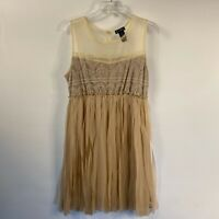 Miss Chievous Women's Beige Size Large Tunic Top Shirt Sleeveless Blouse Lace