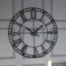 GRAND ROND MÉTAL NOIR SQUELETTE Horloge murale Pile salle à manger cuisine