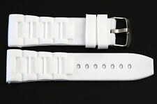 22MM WHITE SOFT RUBBER SILICONE COMPOSITE LINK SPORT WATCH BAND FITS LUMINOX