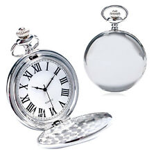 New Silver Smooth Steel Steampunk Mechanical Pocket Watch Men Women Necklace