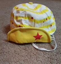 Toddler Sun Hat/Baseball cap, Yellow/white, Striped w/ stars