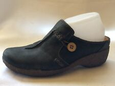 Timberland Womens 8.5 M Comforia Leather Mules Clog Wedge Heel Shoe Black Button
