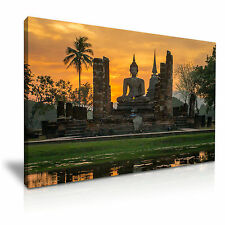 Sunset Buddha Temple Thailand Canvas Wall Picture Print 76x50cm Special Offer