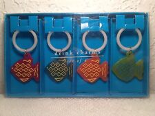 Set Of 4 Colorful Fish Drink Charms Pier 1 Import Wine Glass Beverage New In Box