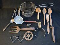 Vintage Lot of Kitchen Tools Utensils Farmhouse Decor Primitive Lot Basket Wood