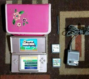 Nintendo DS Lite Metallic Rose Pink Handheld System Charger Stylus 2 Mario Games