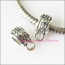 12Pc Tibetan Silver Tiny Flower Bail Bead Fit Bracelet Charms Connector 5x11.5mm