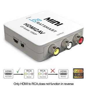 HDMI to RCA Converter Composite AV 1080P HDMI to 3RCA AV Converter White Color