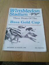 Wimbledon greyhound racing card Saturday 1st August 1998