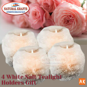 Himalayan Salt Candle White Tealight Holder 4 Pack approx 1 KG each Nice Gift