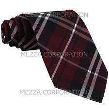 New Men's Vesuvio Napoli plaid checkered Neck Tie Necktie only Party Burgundy