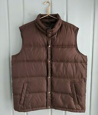 Lands End Mens Large 42 44 Vest Goose Down Feather Quilted Puffer Brown Duvet