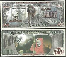 Zombie Million Souls Dollar Bill Play Funny Money Novelty Note + FREE SLEEVE