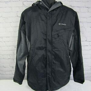 Columbia Omni-Tech Waterproof Hooded Windbreaker Jacket Black Size Men's Large L