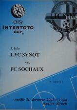 Programm UEFA Intertoto Cup 2002 FC Synot - FC Sochaux