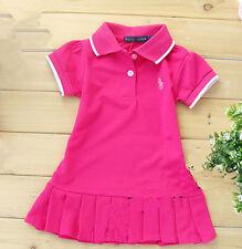 New Kids Girls tennis skirt Short-sleeved T-shirt dress Beach dress 8 Color 1-5Y