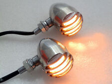 Chrome Grill AMBER Bullet TURN SIGNAL LIGHT for Honda Yamaha Suzuki Kawasaki