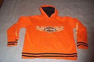 Harley Davidson Motor Cycles Hoodie Juniors Medium 12/14 Orange