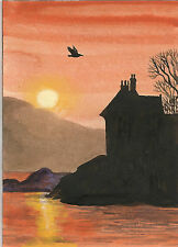 ACEO LANDSCAPE RAVEN CROW RYTA DUNTRUNE CASTLE PRINT OF PAINTING HALLOWEEN GOTH