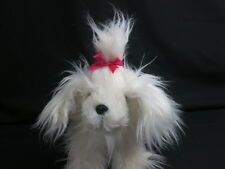 """WHITE PUCCI PUPS LONG-HAIRED PINK BOW BATTAT DOG PLUSH TERRIER YORKIE ANIMAL 10"""""""