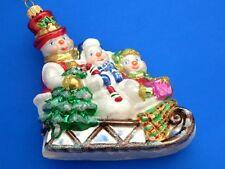LG SNOWMAN W/ SLEIGH EXCLUSIVE EUROPEAN BLOWN GLASS CHRISTMAS TREE ORNAMENT