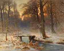 A January Evening by Louis Apol - Art Winter Woods Creek Bridge  8x10 Print 1001