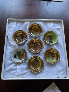 Kutani Yaki Yamazaki Handpainted Sake Set Seven Lucky Gods. Hand painted & Gold