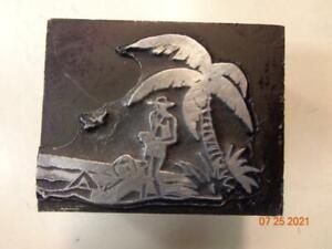 Printing Letterpress Printer Block Decorative Tropical Beach Print Cut