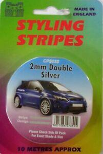 Silver 2mm x 10mtr Twin Self Adhesive Car Pin Stripe Coach Tape Styling Stripe