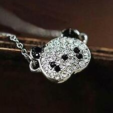 Silver Plated Glitter Chain Necklace Gift Panda Rhinestone Fashion Jewelry