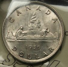 1936 Canada Silver Dollar ICCS MS-64 Near Gem. One year type coin. BV $225