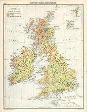BRITISH ISLES - VEGETATION 1905 Robertson & Bartholomew ANTIQUE MAP