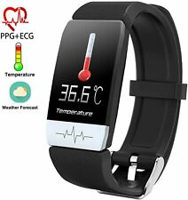 T1S Fitness Tracker with Body Temperature Measurement - Black