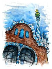 Parc Guell Gaudi Barcelona Spain Drawing Sketch Painting Art Print