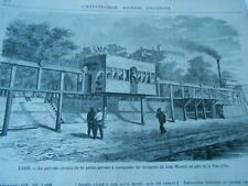 Gravure 1872 - Lyon nouveau chemin de fer aérien au Parc de la Tete d'Or