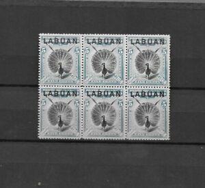 Labuan 1900/02 5c Block of six  Mounted mint