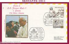 W410 VATICANO FDC ROMA VISITA GIOVANNI PAOLO II WOJITYLA SVIZZERA GINEVRA 1982