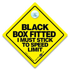 Black Box Fitted I Must Stick To Speed Limit Car Sign Suction Cup Black Box Sign