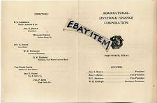 1939 Fort Worth Texas AGRICULTURAL LIVESTOCK FINANCE John Brown BURNS Fitzhugh