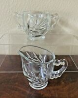 INDIANA GLASS Creamer and Open Sugar Set Willow Pattern Clear Glass VINTAGE