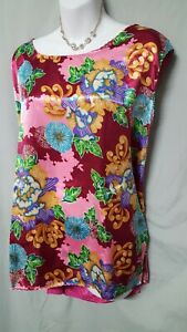"""Ventura MULTICOLOR COLOR PINK Camisole SLEEVELESS SHIRT PLUS SIZE 4X  54"""" BUST"""