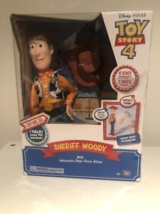 NEW TOY STORY 4 SHERIFF WOODY With Interactive Drop-Down Action BNIB