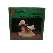 New ListingFlambro White Ceramic Porcelain Rocking Horse Nib Euc Holiday # 1196 Vtg. 1988