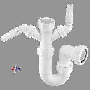 """McAlpine 1½"""" x 75mm Water Seal Multifit Sink Trap with Twin 135° Nozzles  WM11"""