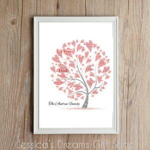 Personalised Family Memory Tree Word Art Print Gift Lovely Present Christmas