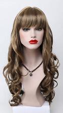 Medium Brown Golden Blonde stripe Mix Long Wavy Straight Bangs Women Daily Wig