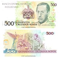 Brazil 500 Cruzeiros 1990 P-226 Banknotes UNC