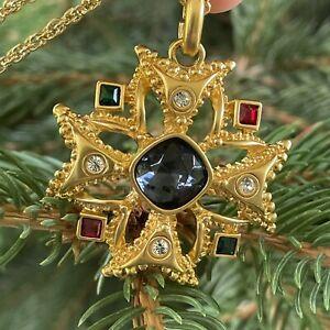 Vintage Maltese Cross Gripoix Style Pendant Necklace Rhinestones Gold Tone Chain