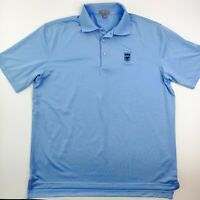 Peter Millar Summer Comfort Men's Blue Polo Golf Shirt Size Large WGA Patch