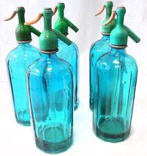 VINTAGE sifon modernista color TURQUESA  antiguo grifo  plomo SODA SIPHON syphon